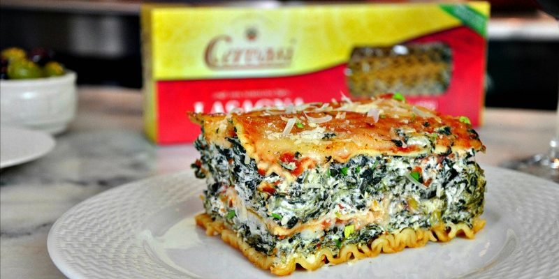 Slice of spinach lasagna