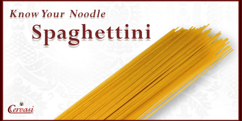 "Uncooked spaghettini pasta with caption ""know your noodle'"