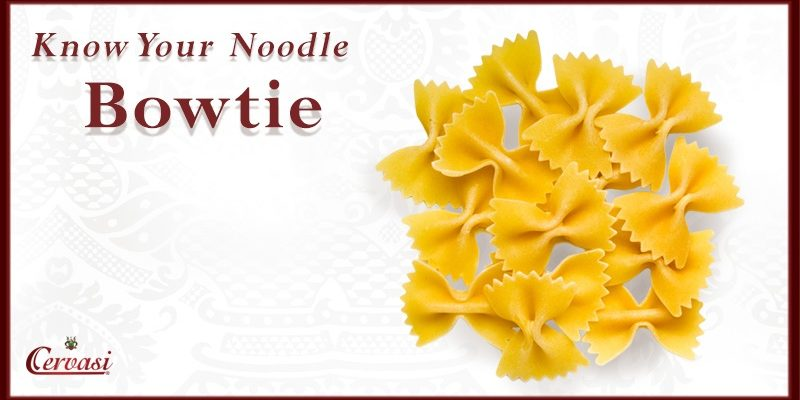 "Uncooked bowtie pasta with caption ""know your noodle"""