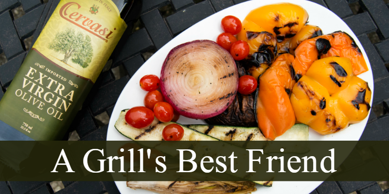 "Grilled vegetables and bottle of olive oil with caption ""a grill's best friend"""