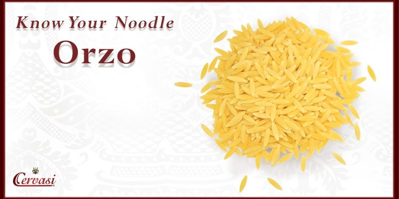 "Orzo pasta with caption ""know your noodle"""