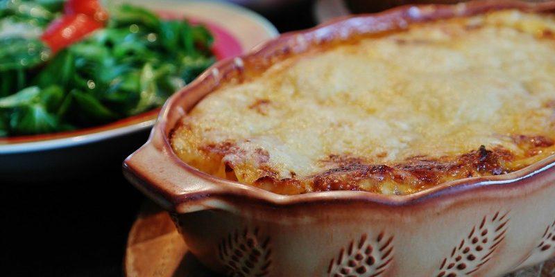 Lasagna baked in casserole dish