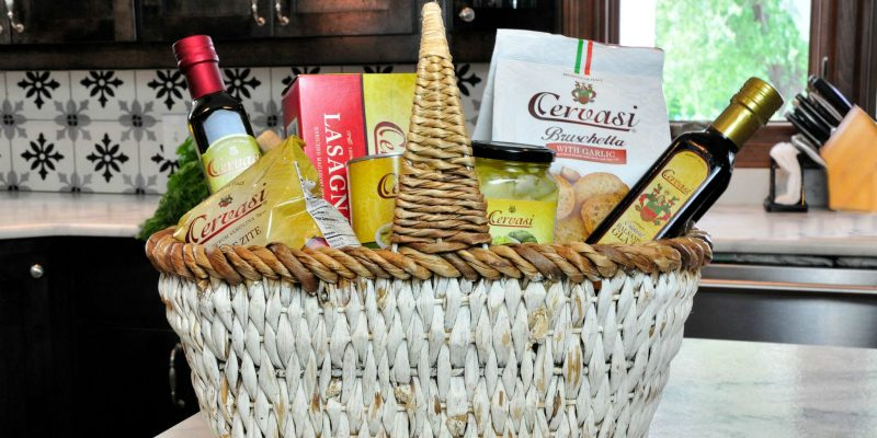 Basket on kitchen counter full of Cervasi Italian food products