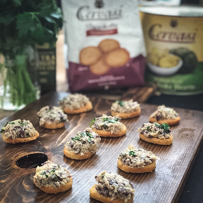 Artichoke Bruschetta featuring Cervasi products by Lauren Lane
