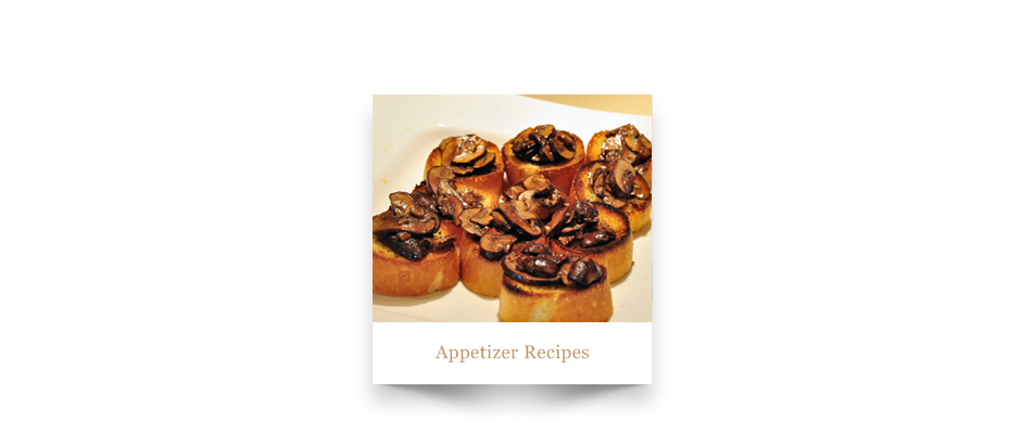 Mushrooms on toasted bread with caption 'Appetizer Recipes'