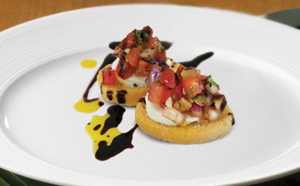 Tomato basil bruschetta on plate