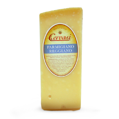 Wedge of Cervasi Parmigiano Reggiano hard Italian cheese