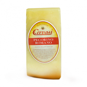 Wedge of Cervasi Pecorino Romano hard Italian cheese
