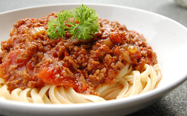 Bowl of bolognese with pasta