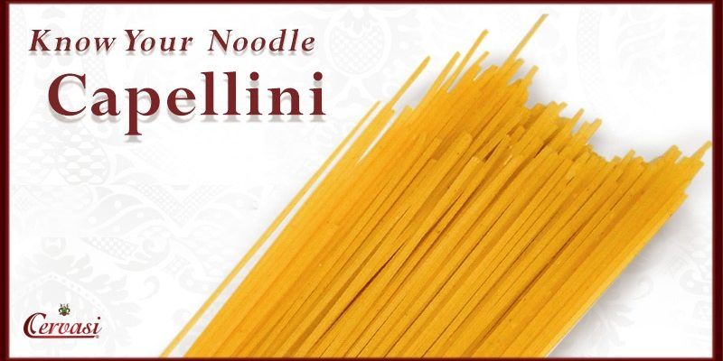 "Capellini pasta with caption ""know your noodle"""