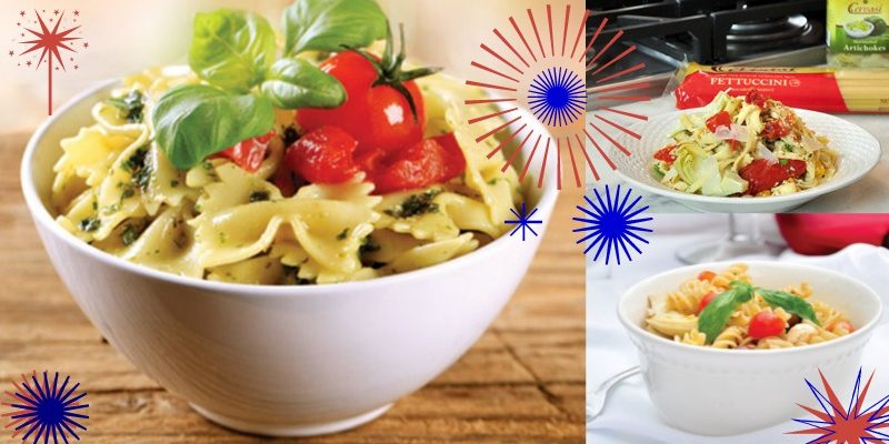 Three different pasta salads with fourth of july themed graphics overtop