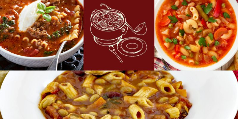 Image of three pasta soups