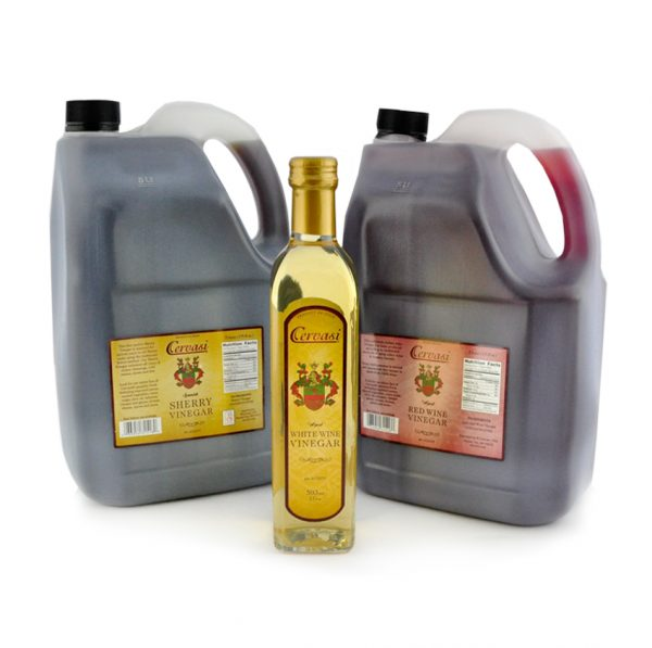 Two jugs and one retail bottle of Cervasi wine vinegars