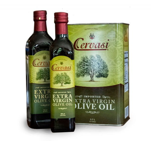 Group of two bottles and one tin of extra virgin olive oil