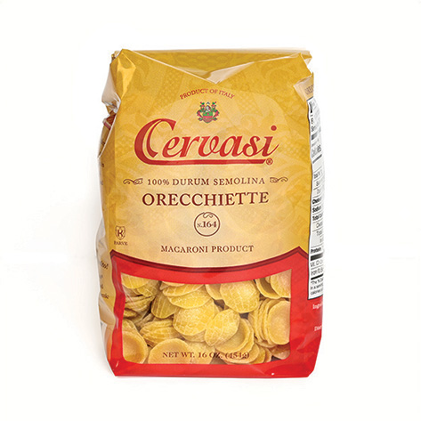 Retail bag of Cervasi orecchiette pasta