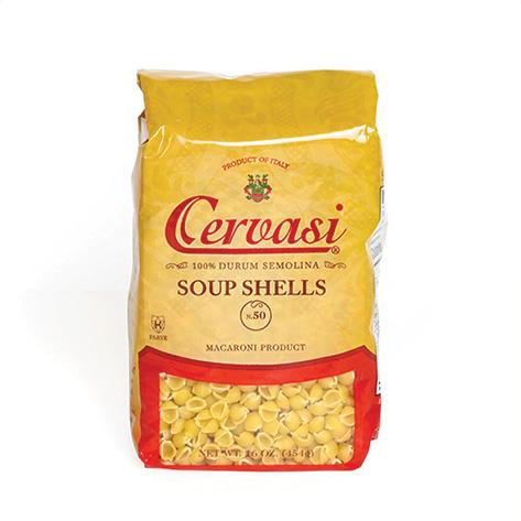 Retail bag of Cervasi soup shell pasta