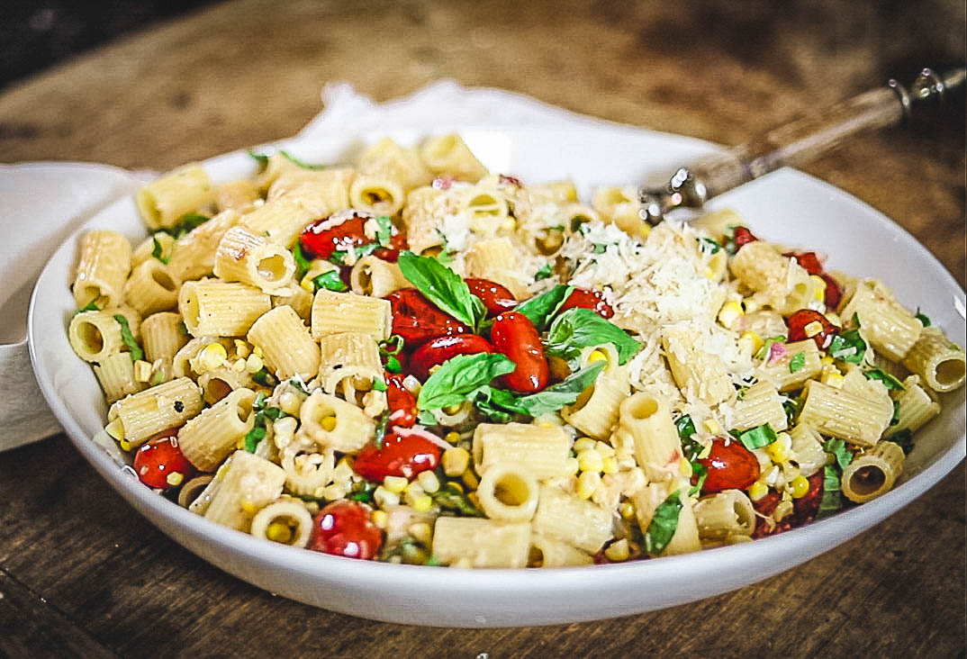 Grilled Corn and Blistered Cherry Tomato Pasta Salad